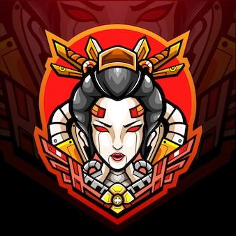 Projekt maskotki z logo gejszy mecha esport
