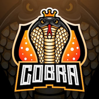 Projekt maskotki z logo king cobra esport