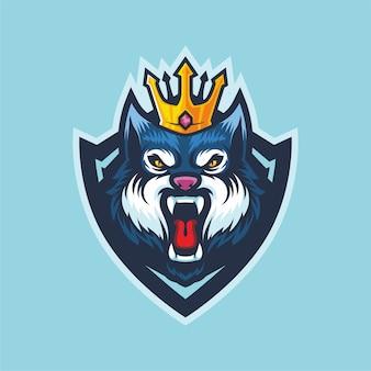 Projekt maskotki z logo king wolf esport