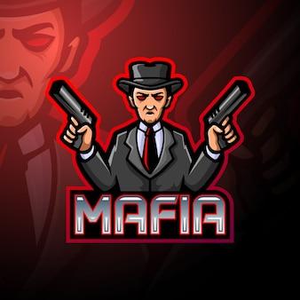 Projekt maskotki z logo mafii esport