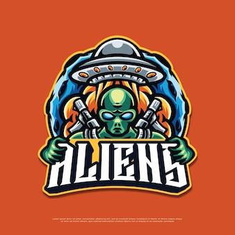 Projekt maskotki z logo obcych