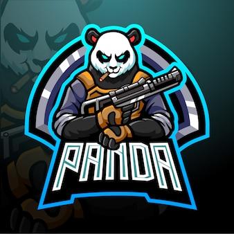 Projekt maskotki z logo panda esport