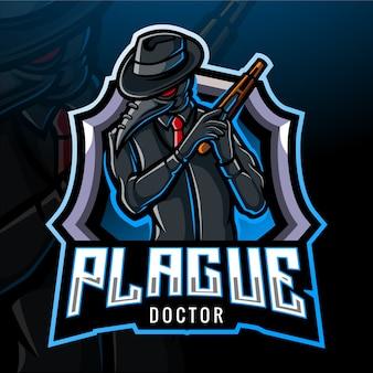 Projekt maskotki z logo plague esport