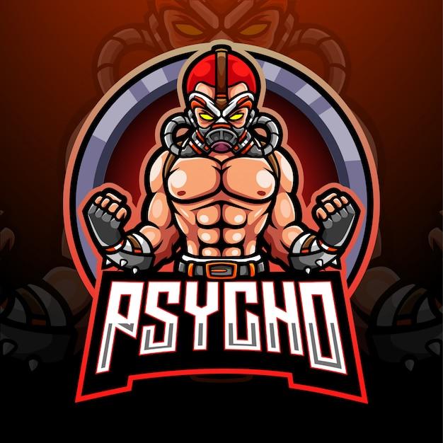 Projekt maskotki z logo psycho esport