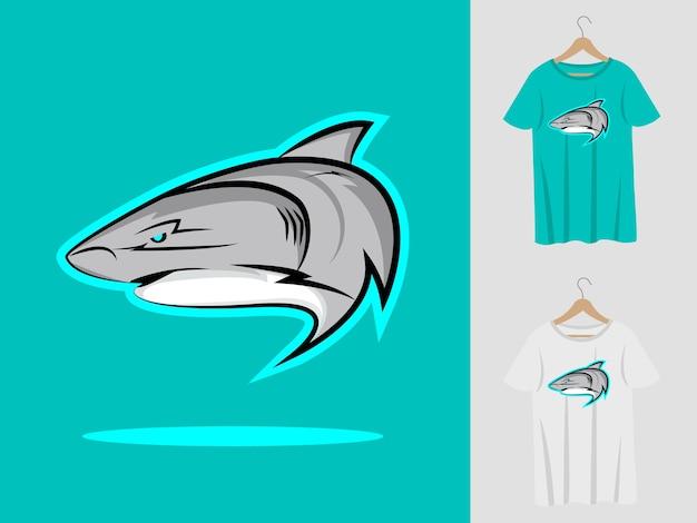 Projekt maskotki z logo rekina i t-shirtem.