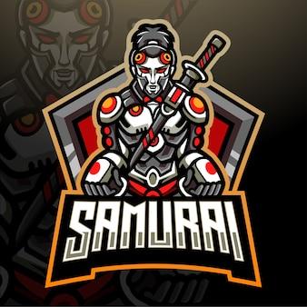 Projekt maskotki z logo samuraj mecha esport