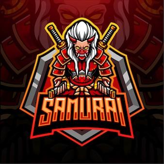Projekt maskotki z logo samuraja esport