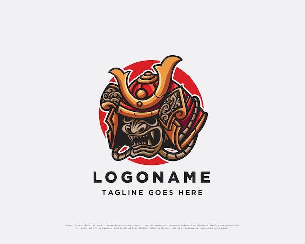 Projekt maskotki z logo samuraja