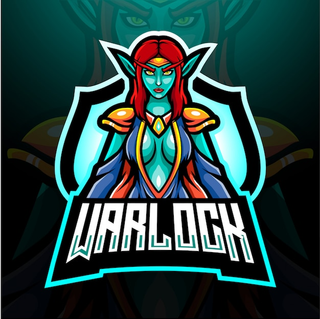 Projekt maskotki z logo warlock esport