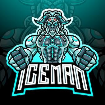 Projekt maskotki z logo yeti robot esport