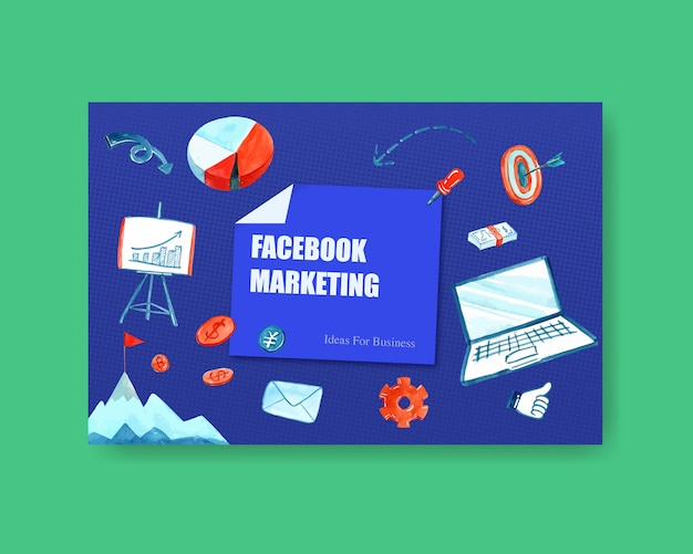 Projekt mediów społecznościowych z akwarelą biznesową pieniędzy, ilustracja laptopa.