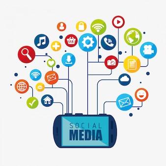 Projekt mediów społecznościowych z ikonami multimedialnymi
