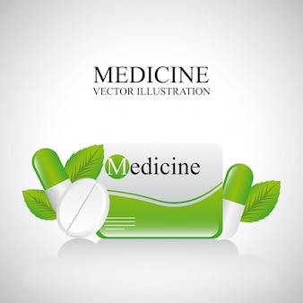 Projekt medycyny na szarym tle ilustracji wektorowych