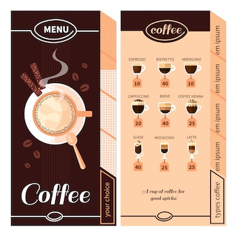 Projekt menu kawy