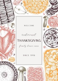 Projekt menu kolacji w święto dziękczynienia w kolorze