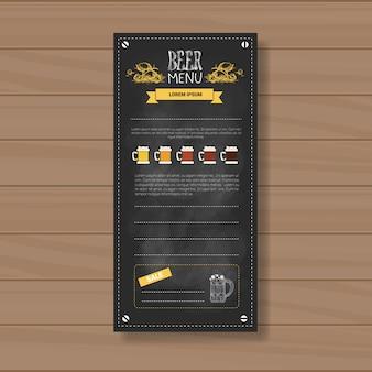 Projekt menu piwa dla restauracji cafe pub chalked