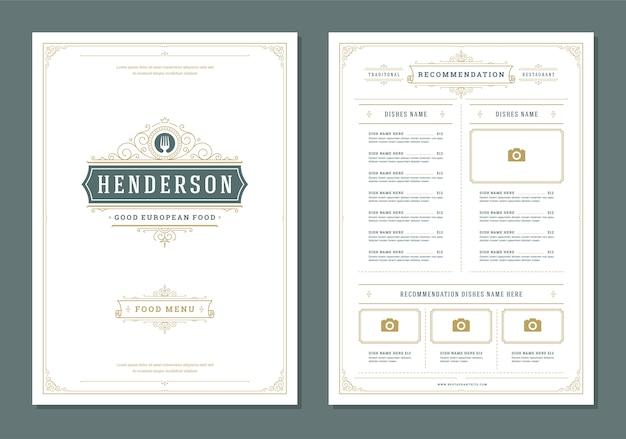 Projekt menu restauracji i szablon wektor broszura etykiety.