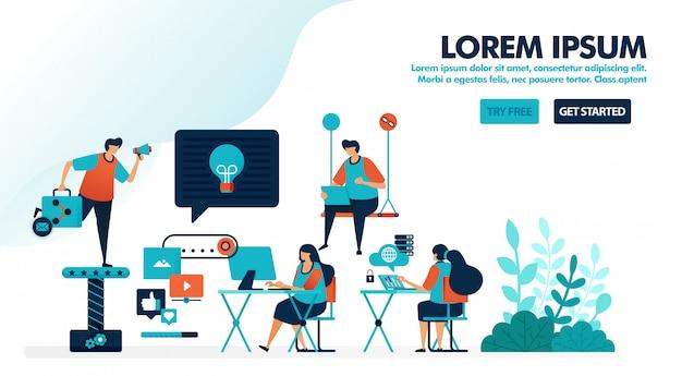 Projekt miejsca pracy dla pokoleń milenijnych, przestrzeni coworkingowej lub nowoczesnego miejsca pracy