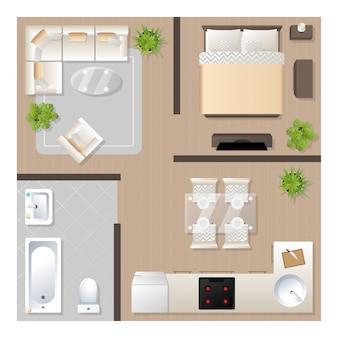 Projekt mieszkania z widokiem na meble, plan architektoniczny, kuchnię, łazienkę, sypialnię i salon.