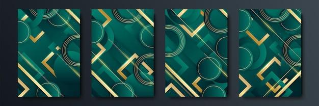 Projekt minimalistycznych okładek wektorowych z gradientowymi i geometrycznymi przecinającymi się kształtami linii. ciemny zielony i złoty projekt transparentu. zestaw nowoczesnych szablonów okładek