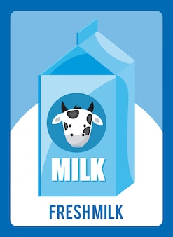Projekt mleka na niebieskim tle