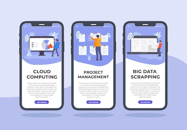 Projekt mobilnego zestawu do zarządzania projektami. w tej treści są trzy szablony iphone'a, czyli cloud computing, zarządzanie projektami i bigowanie danych.