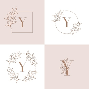 Projekt monogram litery y logo z zestawem liści orchidei