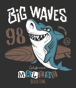 Projekt nadruku na koszulce surf shark, ilustracja.