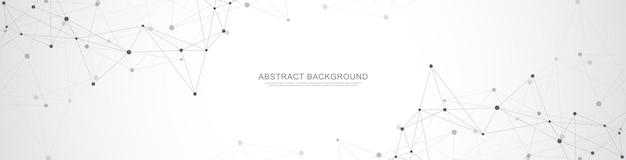 Projekt nagłówka lub banera z abstrakcyjnym geometrycznym tłem i łączącymi kropkami i liniami.