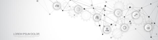 Projekt nagłówka strony internetowej lub banera z abstrakcyjnym zapleczem technicznym i łączeniem kropek i linii. koncepcja technologii cyfrowej i komunikacji z płaskimi ikonami.