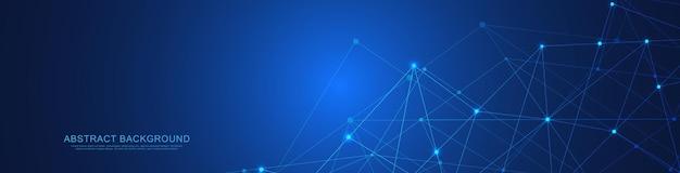 Projekt nagłówka strony lub banera z abstrakcyjnym geometrycznym tłem i łączącymi kropkami i liniami. globalne połączenie sieciowe. technologia cyfrowa z tłem splotu i miejscem na tekst.