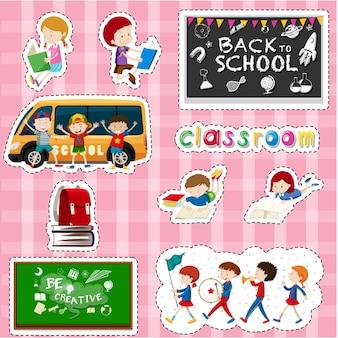 Projekt naklejki dla uczniów i przedmiotów szkolnych