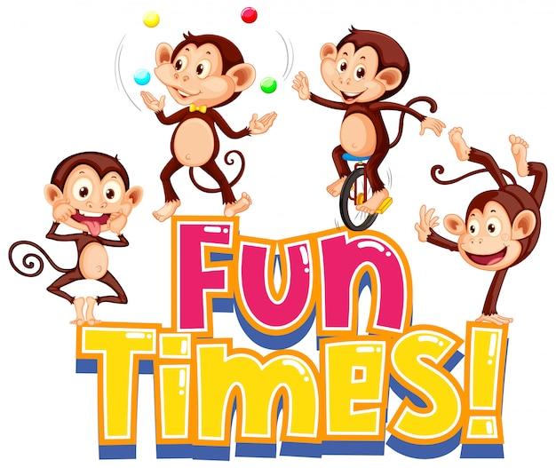 Projekt naklejki na zabawne słowa ze słodkimi małpami