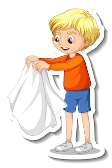 Projekt naklejki z chłopcem, który zdejmuje płaszcz na białym tle