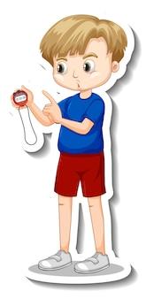 Projekt naklejki z chłopcem-trenerem trzymającym zegar