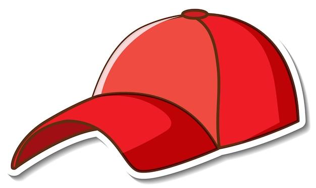 Projekt naklejki z czerwoną czapką z daszkiem na białym tle