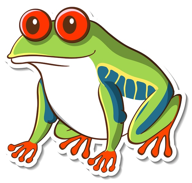 Projekt naklejki z egzotyczną żabą na białym tle