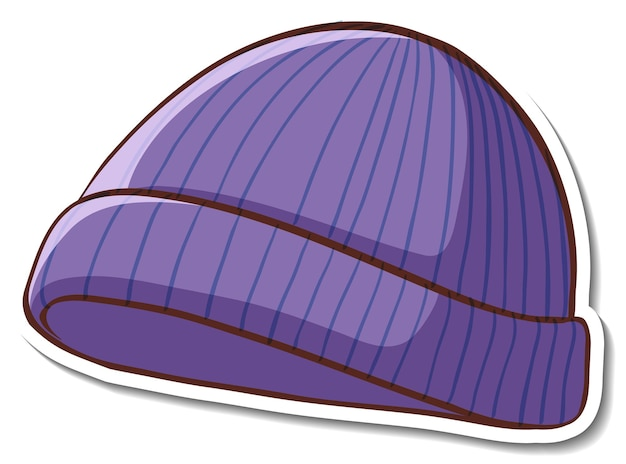 Projekt naklejki z fioletowym kapeluszem beanie na białym tle