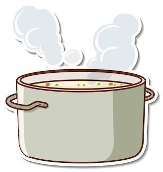 Projekt naklejki z gotowaną zupą w garnku na białym tle