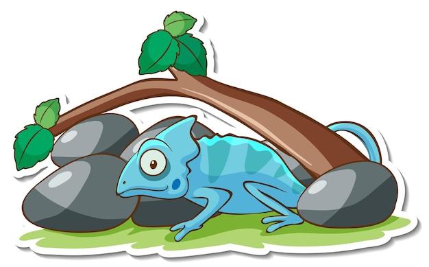 Projekt naklejki z jaszczurką kameleon na białym tle
