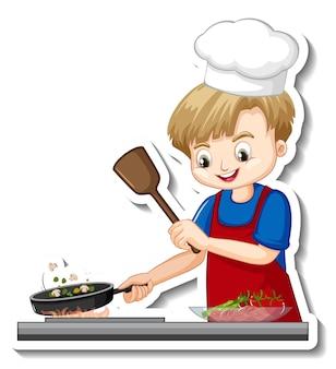 Projekt naklejki z kucharzem chłopcem gotowania postaci z kreskówek żywności
