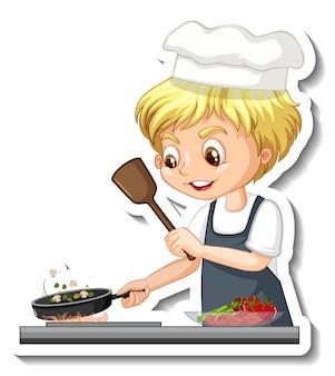 Projekt naklejki z kucharzem chłopiec gotuje jedzenie postać z kreskówki