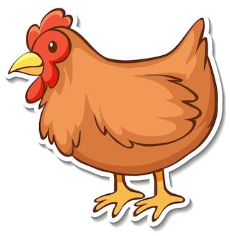 Projekt naklejki z kurczakiem na białym tle