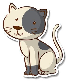 Projekt naklejki z małym kotem na białym tle
