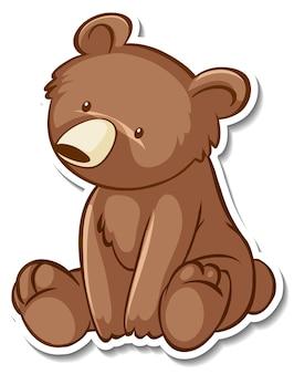 Projekt naklejki z niedźwiedziem grizzly w pozycji siedzącej na białym tle