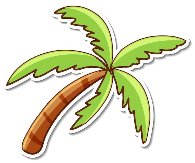 Projekt naklejki z palmą lub drzewem kokosowym na białym tle