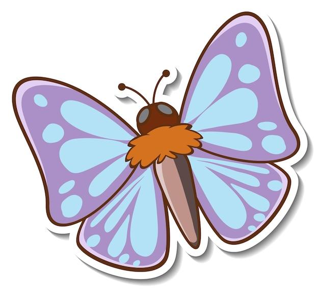 Projekt naklejki z pięknym motylem na białym tle