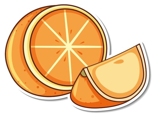 Projekt naklejki z pomarańczowymi owocami, na białym tle