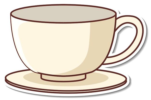 Projekt naklejki z pustą filiżanką herbaty na białym tle
