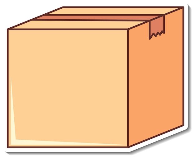 Projekt naklejki z pustym pudełkiem zamkniętym na białym tle